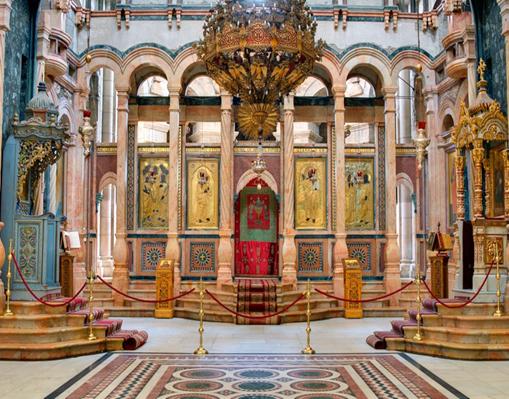 El Catholicon es la iglesia en el centro de la Iglesia del Santo Sepulcro en Jerusalén, Israel. © Sean Pavone / Alamy Stock Photo