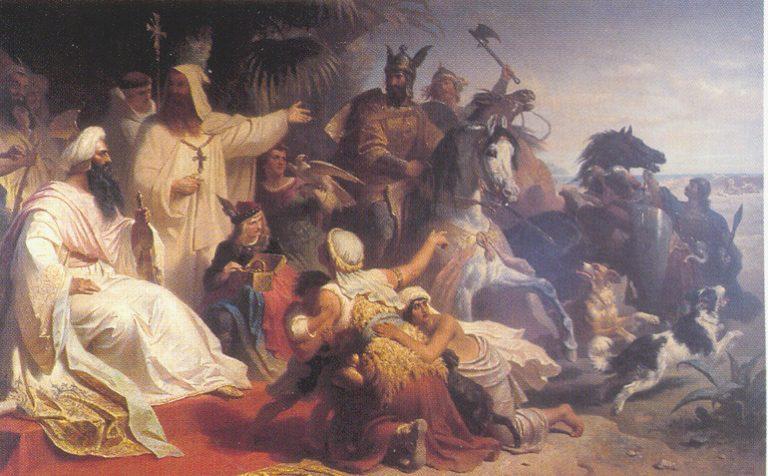 La imaginación de Julius Köckert (1827-1918) del desafortunado Lantfrid y Segismundo que llegan a la corte de Harun al-Rashid (1864)