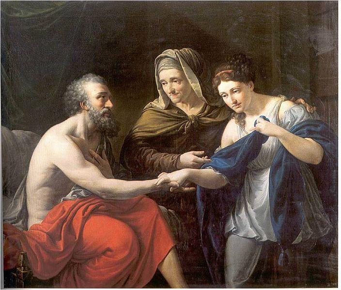 Sara presentando a la sierva egipcia Agar a su marido Abraham - Vicente Rodés y Aries (Real Academia Catalana de Bellas Artes de San Jorge)
