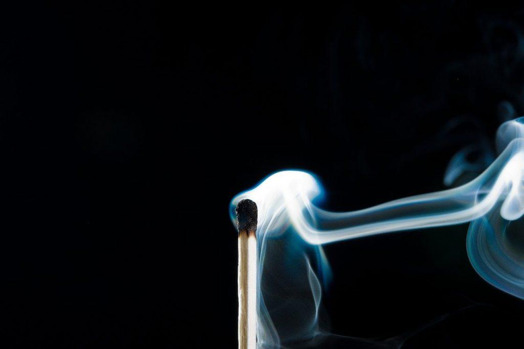 smoke, fire, match