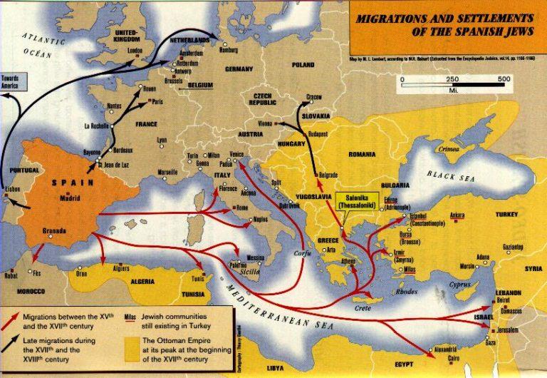 Mapa de la Expulsion de los judios de España