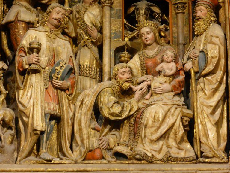 Adoración de los Reyes Magos, retablo mayor de la Seo o Catedral del Salvador de Zaragoza, España. Escultor Hans de Suabia.