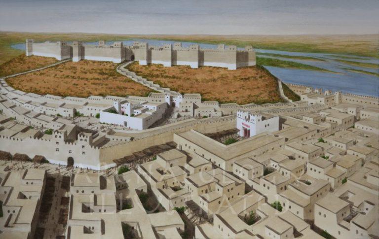Reconstruccion informatica de la ciudad de Ugarit en la antigua Siria
