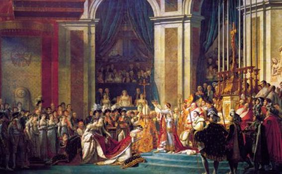 La consagración de Napoleón, por Jacques Louis David, 1808. Museo del Louvre. Wikipedia